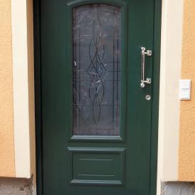 Inotherm Haustüre ATE 1130 Tannengrün matt mit Rillenschliffglas